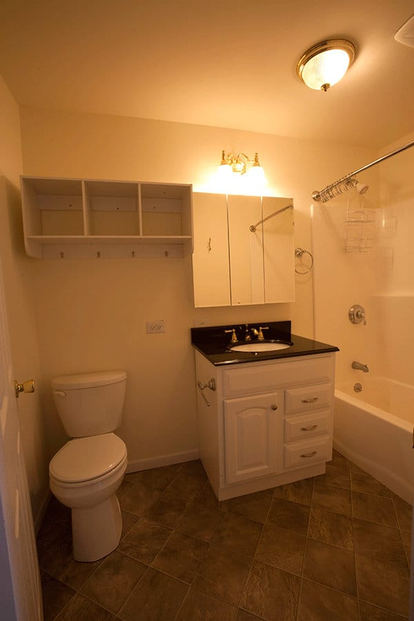 A bathroom configuration from one of the apartments
