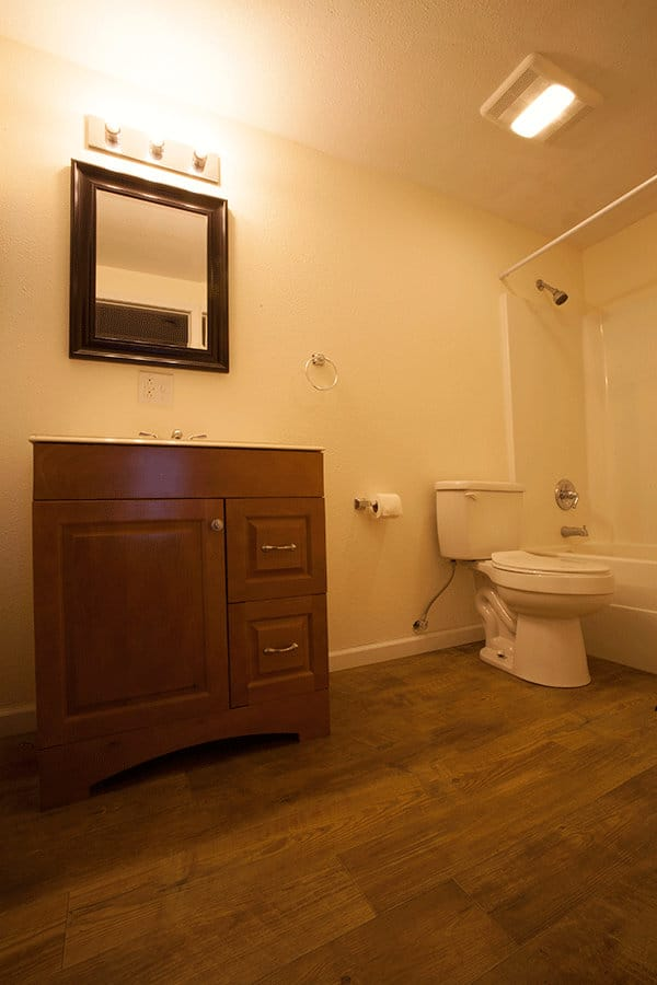 One of the bathroom layouts in the apartments